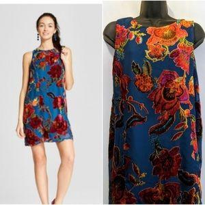 Xhilaration velvet floral shift dress SIZE XS
